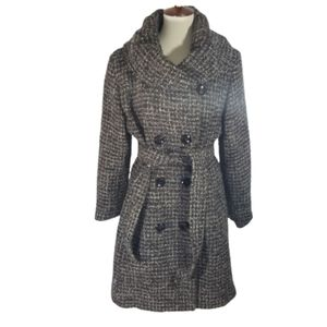 Ellen Tracy brown shimmer Tweed belted coat sz 14